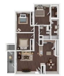 Floor Plan 3 Bedroom 2 Bath, opens a dialog