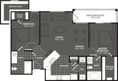 Two Bed Two Bath Floor Plan at Estates at Briggs Ranch, Texas, 78245