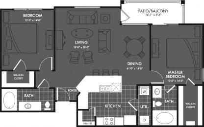 Two Bed Two Bath Floor Plan at Estates at Briggs Ranch, San Antonio, TX, 78245