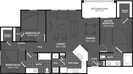 Three Bed Two Bath Floor Plan at Estates at Briggs Ranch, San Antonio, TX