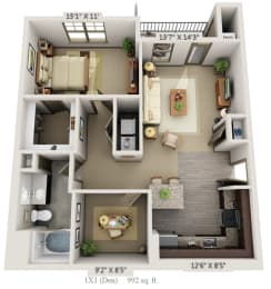 Woodview 1BR 1BA  Den 992 sq ft A4D