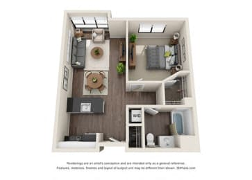 One Bedroom Floor plan for apartments in wilshire vermont