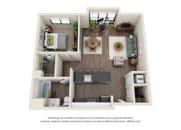 One Bedroom Floorplan with large windows
