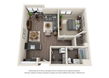 One Bedroom Floorplan with open concept kitchen