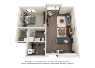 One Bedroom Floorplan with open concept area for apartments in los angeles