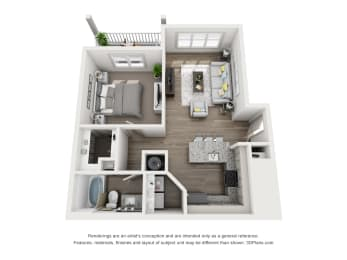 Red Maple Floor Plan 700 SF 1X1