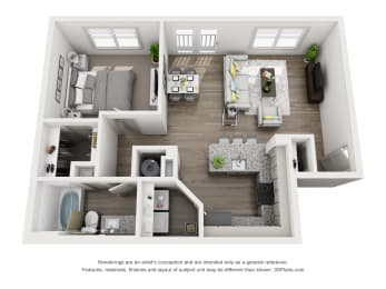 White Oak Floor Plan 726SF 1X1