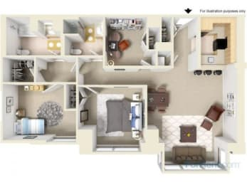 Two Bedroom W/Den Floor Plan |Residences at Manchester Place