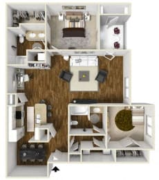 Floor Plan Two Bedroom W-Study
