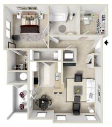 1 Bed 1 Bath Floor Plan at Charleston Apartment Homes, Mobile, AL