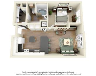 Floor Plan A1 1 Bedroom 1 Bath