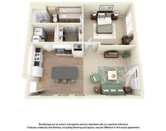 Floor Plan A2 1 Bedroom 1 Bath