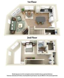 Floor Plan A4 1 Bedroom 1 Bath