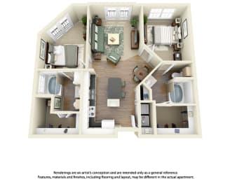 Floor Plan B1 2 Bedroom 2 Bath