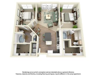 Floor Plan B2 2 Bedroom 2 Bath