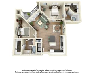 Floor Plan B3 2 Bedroom 2 Bath