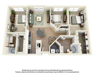 Floor Plan C1 3 Bedroom 2 Bath