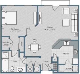 1 Bedroom 1 Bathroom Floor Plan at Sterling Magnolia Apartments, Charlotte, NC, 28211