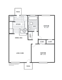 Floor Plan 2 Bedroom 1 Bath A