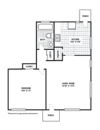 Floor Plan 1 Bedroom 1 Bath B