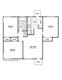 Floor Plan 3 Bedroom 1 Bath A