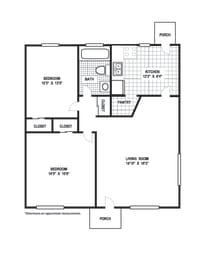 Floor Plan 2 Bedroom 1 Bath B