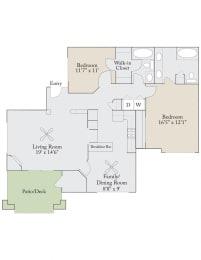 Floor plan at Cambridge Apartments, Raleigh, 27615