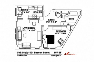 Floor plan at The Regent, Brookline, Massachusetts