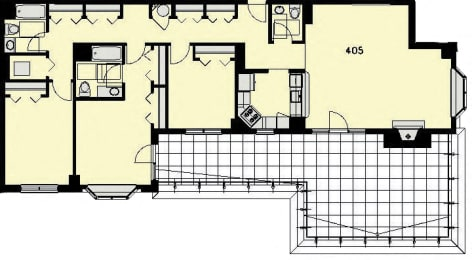 Floor Plan Penthouse 5 - 3 Bed, 2.5 Baths