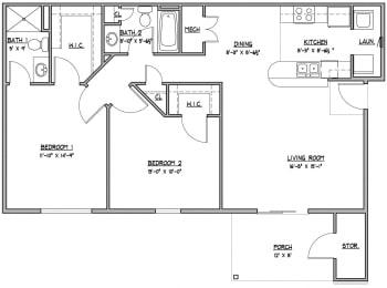 2 bedroom 2 bathroom Floor Plan  at Hawthorne Properties, Lafayette, Indiana