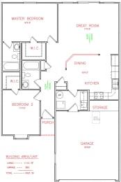 2 Bedroom 2 Bathroom Floor Plan at Hawthorne Properties, Lafayette, 47905