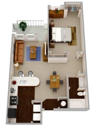The Solomon a one bedroom one bath apartment with modern features that include wood flooring, granite countertops, dark wood cabinetry, and stainless steel appliances and hardware., opens a dialog