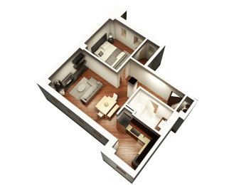 1 Bed 1 Bath 808 sqft 3D Floor Plan at Somerset Place Apartments, Illinois, 60640