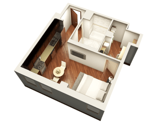 Studio 462 sqft 3D Floor plan at Somerset Place Apartments, Chicago, IL