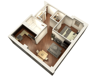 1 Bed 1 Bath 817 sqft 3D Floor Plan at Somerset Place Apartments, Chicago, 60640