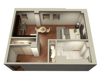 Studio 537 sqft 3D Floor Plan at Somerset Place Apartments, Illinois