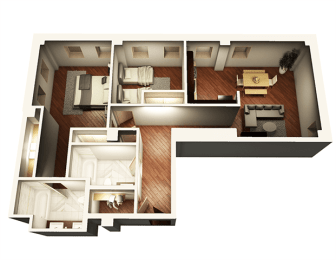 2 Bed 2 Bath 1055 sqft 3D Floor Plan at Somerset Place Apartments, Chicago, IL