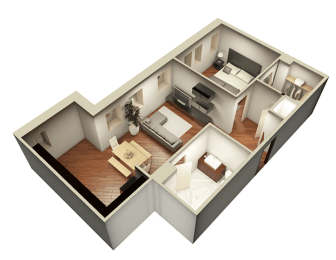 1 Bed 1 Bath 743 sqft 3D Floor Plan at Somerset Place Apartments, Chicago, IL