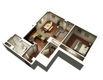 The Penthouse 927 sqft 3D Floor Plan at Somerset Place Apartments, Illinois, 60640