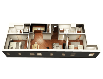 The Penthouse 1050 sqft 3D Floor plan at Somerset Place Apartments, Chicago