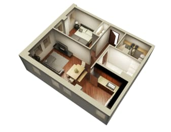 669 Sqft 3D Floor Plan at Somerset Place Apartments, Chicago, IL