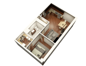 1 Bed 1 Bath 719 sqft Floor Plan at Somerset Place Apartments, Illinois, 60640