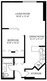 Floor Plan 1 Bedroom (B)