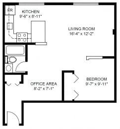Floor Plan 1 Bedroom (C)