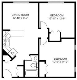 Floor Plan 2 Bedroom (D1)