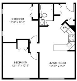 Floor Plan 2 Bedroom (D2)