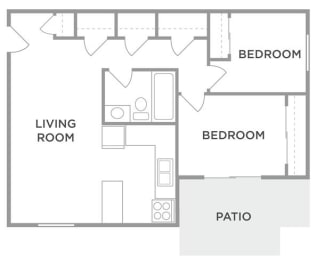 The Elm Two Bed One Bath Floor Plan at Kingston Square Apartments, Indianapolis, Indiana