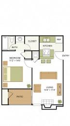 A1 1 Bedroom 1 Bath Floorplan at Sunset Canyon, San Antonio, Texas