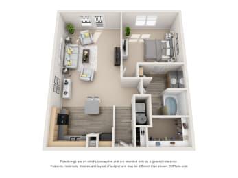 Floor Plan Chic 1 BR