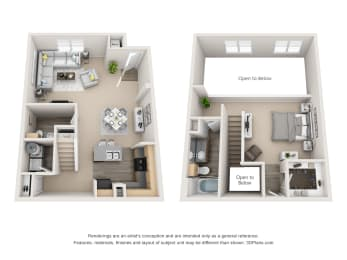 Floor Plan 1 Bedroom Townhome, opens a dialog
